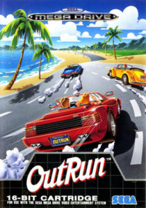 Video game Outrun cover art of 80s ferrari driving down street with palm trees