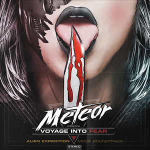 Synthwave cover art of woman licking bloody knife blade