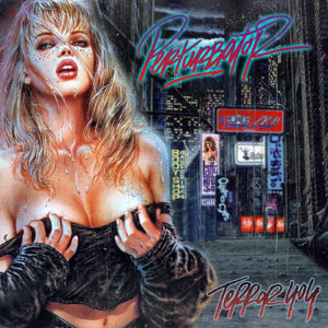 Darksynth album cover art of woman on rainy city street